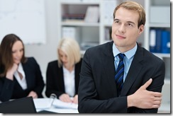 Visionary employee thinking of development